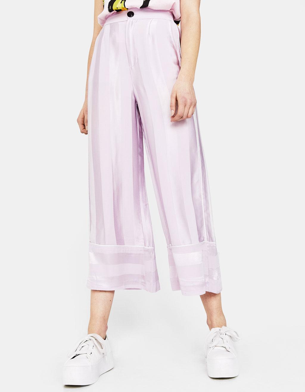 pantaloni raso lilla