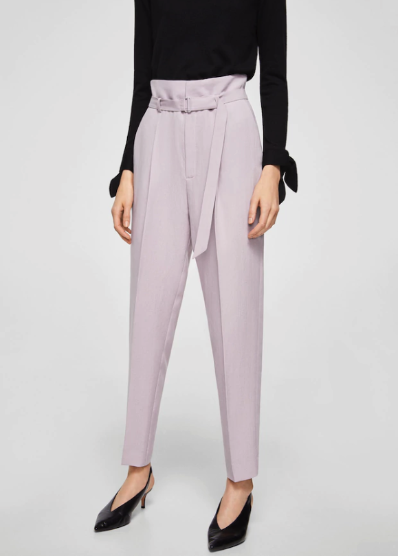 pantaloni vita alta lilla