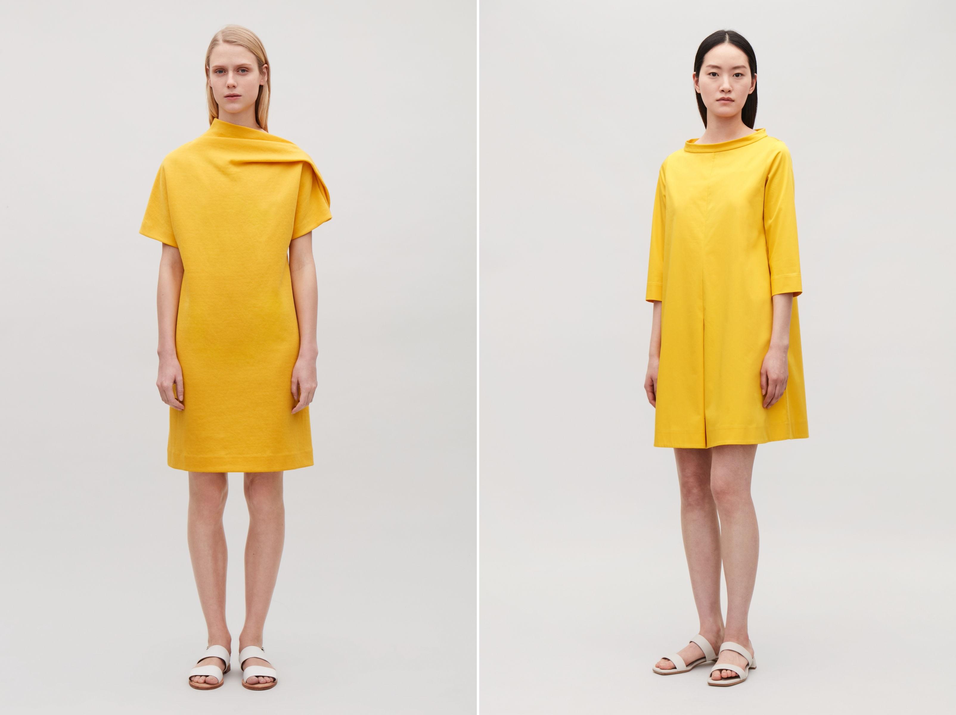 abiti da donna giallo corti Cos